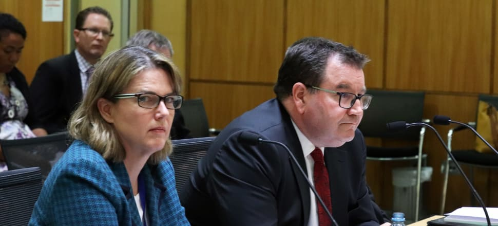 Treasury Secretary Caralee McLiesh and Finance Minister Grant Robertson presenting to the Finance and Expenditure Select Committee in February. Photo: Lynn Grieveson.