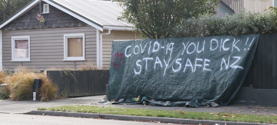 A homemade sign outside a house in Shirley, Christchurch. Photo: David Williams