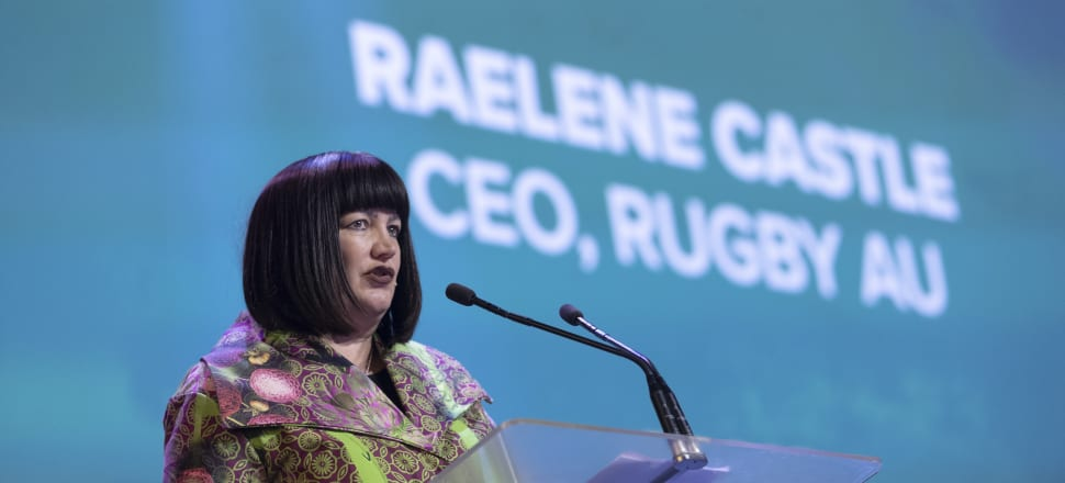 """Under-siege Rugby Australia CEO Raelene Castle has taken a 65 percent pay cut """"until the game is back in good shape physically"""" from the Covid-19 shutdown. Photo: Getty Images."""