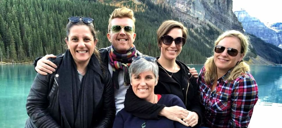 In the carefree days before lockdown: five friends, four years ago, at Lake Louise in the Canadian Rockies (from left) Donna Demaio, Patrick McAleenan, Suzanne McFadden, Nicola Russell, Marika Cook Flatt.