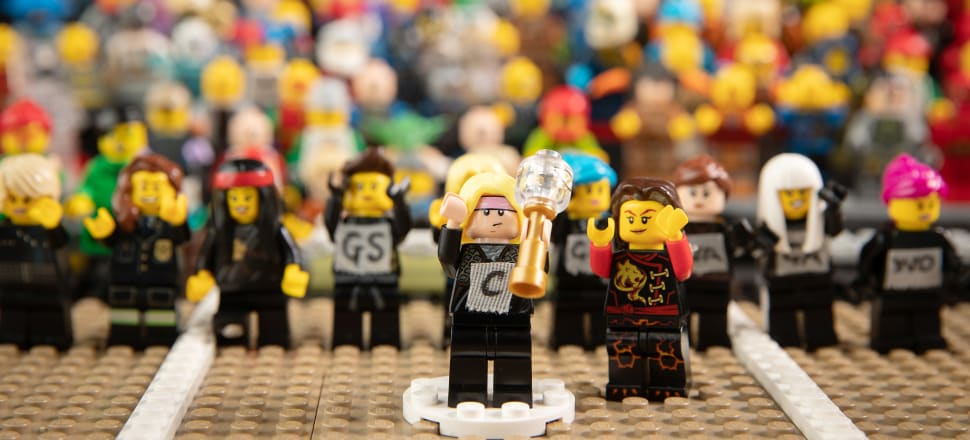 Lego Laura Langman with the Netball World Cup trophy (received from Lego Jacinda Ardern) in this clever re-creation by photographer Michael Bradley and his three sons. Photo: Michael Bradley Photography.