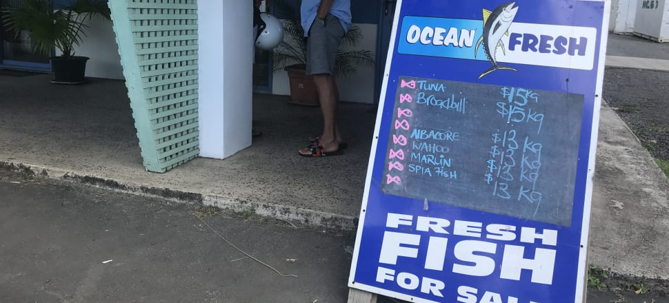 At Ocean Fresh on Rarotonga, prices have halved. Yellowfin tuna that was $26 or $27 a kilo is now $15 – while in New Zealand you'll pay $45.95/kg for decent tuna.
