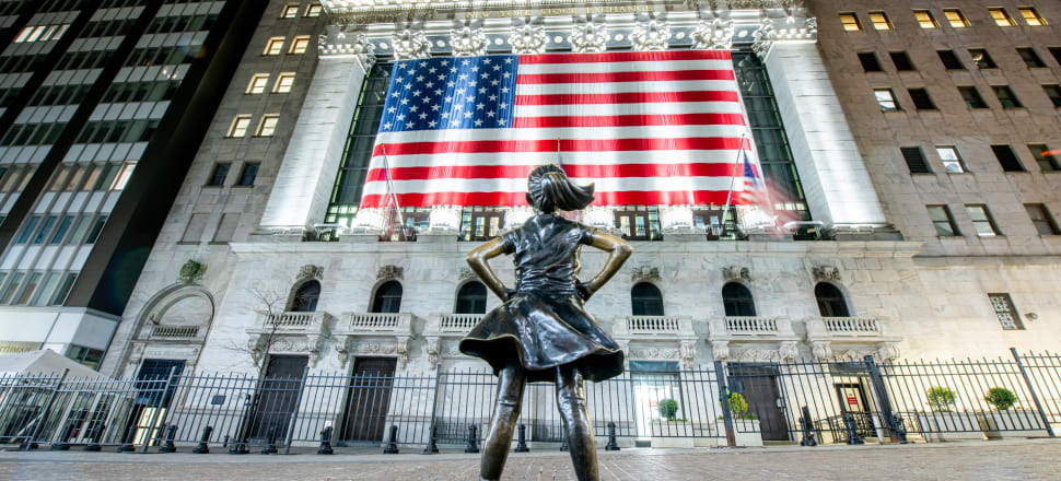 "A view of ""Fearless Girl"" statue in front of the New York Stock Exchange this month. The S&P 500 stock index has bounced 25 percent from a three-year low hit a month ago. It now sits just 17 percent below its mid-February record high and is at levels last seen in June last year. That's despite estimates that US GDP could fall more than 20 percent in the June quarter, and more than 10 percent for the year. (Photo: Getty Images)"