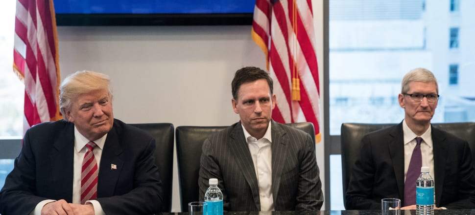 Donald Trump with Peter Thiel at a summit with technology leaders after the 2016 election. Photo: Getty Images