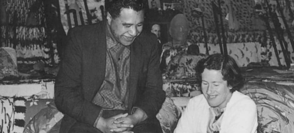Hone Tuwhare and his wife Jean McCormack photographed by Ans Westra at Tūrangawaewae in 1964. The photo is taken from Janet Hunt's biography of Tuwhare, with permission of the author.