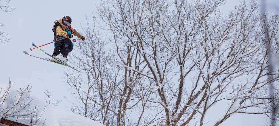 Two-time NZ Winter Olympian and four-time X Games freeskier Janina Kuzma flies through the air at Japan's oldest ski resort, Seki. Photo: Zoya Lynch