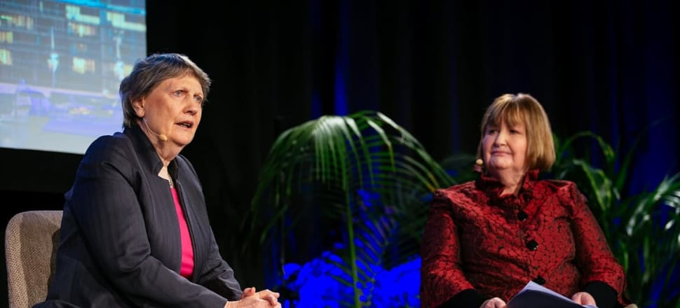 Former PM Helen Clark with moderator Fran O'Sullivan at the Auckland Future, Now summit. Photo: Supplied.