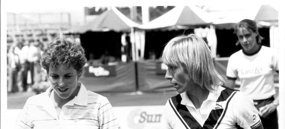 The only time Kiwi tennis star Belinda Cordwell played the legend Martina Navratilova - at the 1985 NSW Open.  Navratilova won the round of 16 match, 6-4, 7-6, despite losing her glasses. Photo: Getty Images.