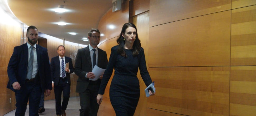 Jacinda Ardern's face as she headed into a Beehive press conference provided some idea of the bad news to come. Photo: Sam Sachdeva.