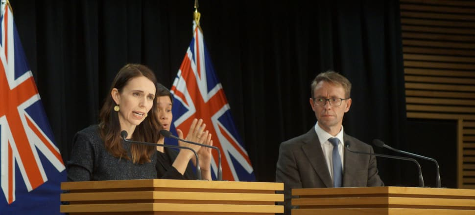 Prime Minister Jacinda Ardern and Director-General of Health Ashley Bloomfield discuss New Zealand's move into Level 3. Photo: Sam Sachdeva.