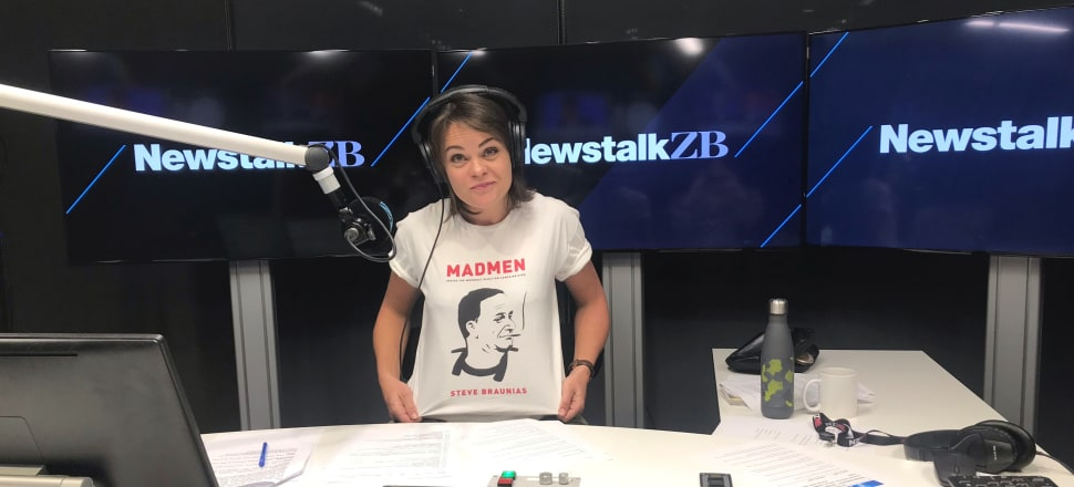 We will resume our series of photographs of politicians by their bookcases when the election campaign resumes; in the meantime, Newstalk ZB controversialist Heather du Plessis-Allan is pictured modelling a T-shirt of the cover of Madmen: Inside The Weirdest Election Campaign Ever by Steve Braunias, a number-one bestseller published by Luncheon Sausage Books in 2014. Josh Drummond illustrated John Key sucking on what may or may not be a blunt.