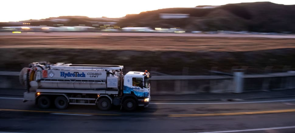 A transfer truck moves sewage from Wellington wastewater treatment plant to a landfill in this year's lockdown. Photo: Getty Images