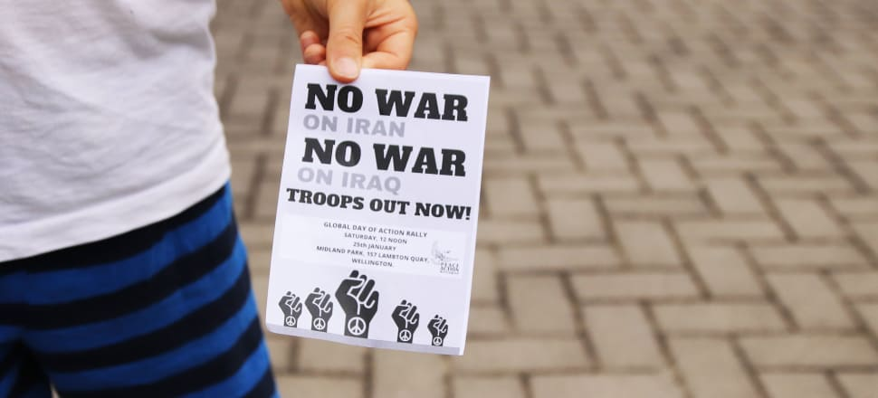"""Peace activists have been calling for """"troops out now"""" and were heartened by the news NZ's training deployment at Taji base in Iraq will soon be reduced to 45 personnel before coming to an end in a few months. Photo: Lynn Grieveson"""