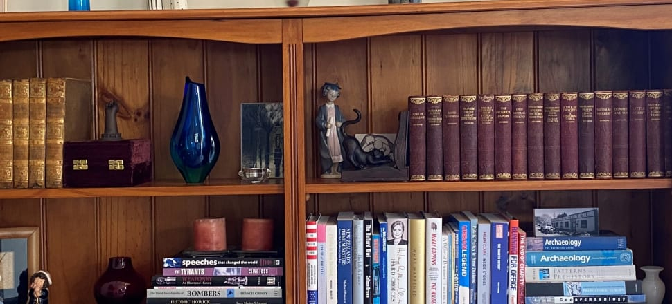 There's something sad, sparse and plain unread in this photo taken by independent MP Jamie-Lee Ross of a bookcase in his Auckland home. Books include a bound Shakespeare and a bound Dickens; something unreadable by Michael Bassett; and the deathless Public Policy in New Zealand.