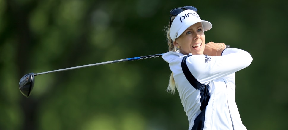 Swedish golfer Pernilla Lindberg playing in the 2019 KPMG Women's PGA Championship in Minnesota; she has won one major title in her pro career. Photo: Getty Images.