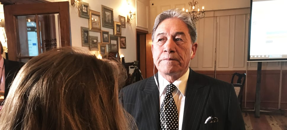 Winston Peters carries out a radio interview on election night in 2017. His own supporters needed earphones to have any chance of following his Facebook Q+A this week. File photo: Sam Sachdeva.