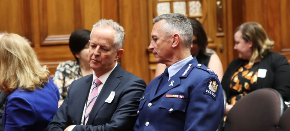 Children's Commissioner Andrew Becroft speaks to Police Commissioner Mike Bush at the launch of the Every Four Minutes report in 2018. Photo: Lynn Grieveson