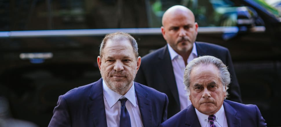 Harvey Weinstein, left, arrives at State Supreme Court. The movie mogul has now been convicted of sexual assault. Photo: Getty Images