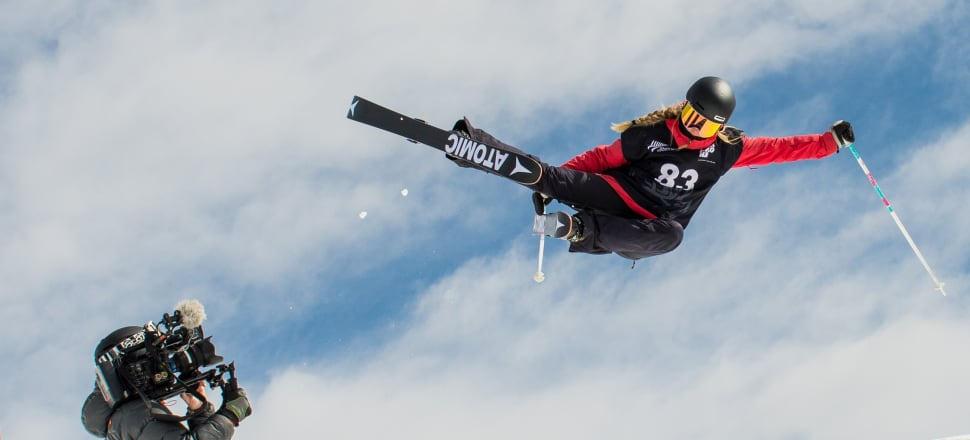 Ruby Andrews on her way to winning the U16 halfpipe title at the junior freestyle nationals at Cardrona last October. Photo: Black Peak Photo.