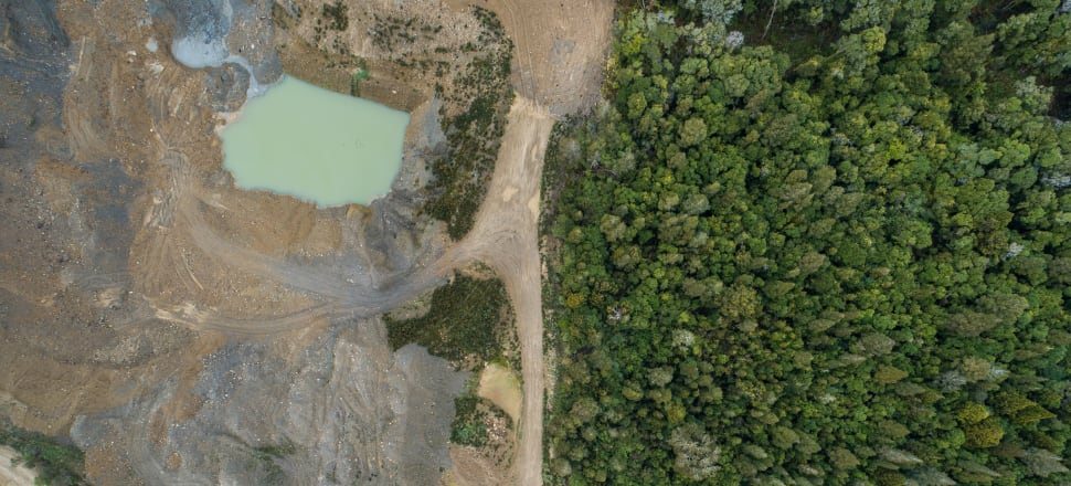 An alluvial mine on stewardship land in Mikonui Valley on the West Coast. Photo: Forest & Bird (Neil Silverwood)