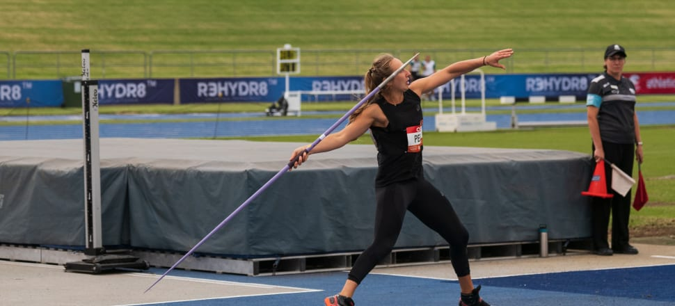 After spending a week living - and cooking - with the world javelin champion, Tori Peeters felt relaxed and happy as she threw a NZ record distance, 64.02m, at the 2020 Sydney Track Classic. Photo: supplied.
