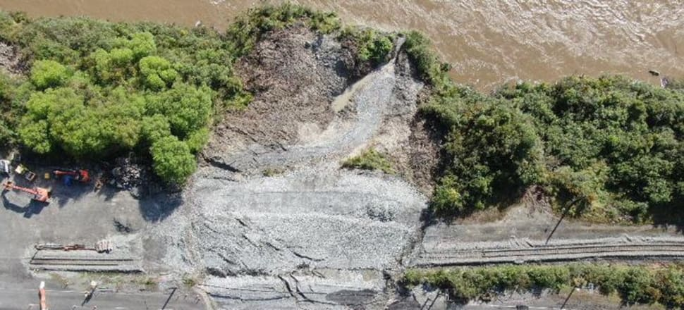 An aerial view of the landslide at Omoto on SH7. Photo: Supplied / NZTA