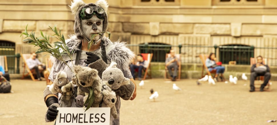 An activist protesting climate change in the wake of Australia's devastating bushfires which have destroyed koala habitat Photo: Getty Images