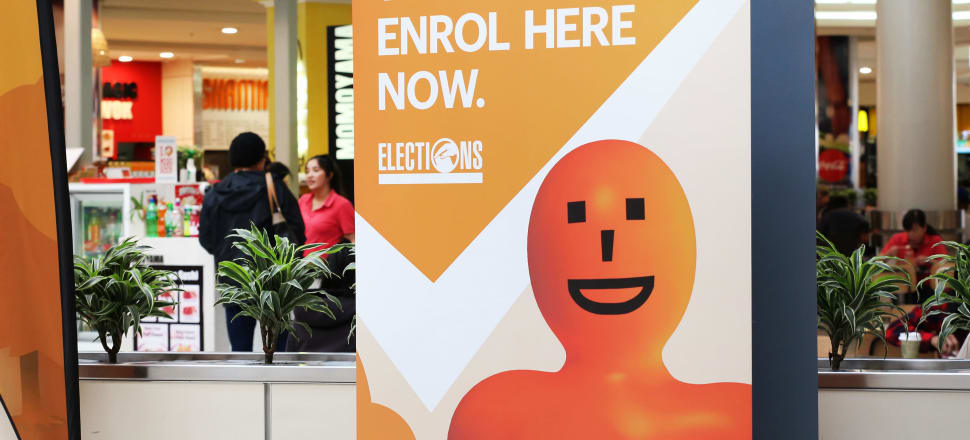 Could the Electoral Commission's orange man rescue local government turnout? Photo: Lynn Grieveson.