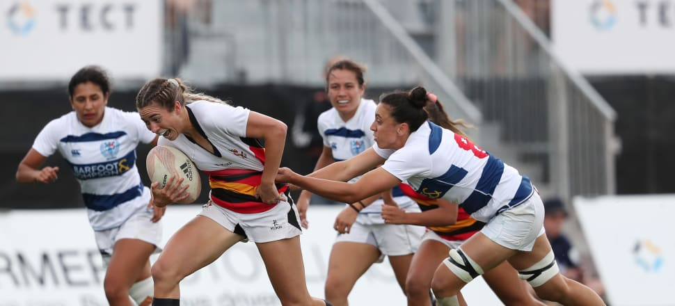 Black Ferns Sevens rookie Jazmin Hotham, in Waikato colours, attempts to evade a tackle during the national sevens tournament last December. Photo: Getty Images.