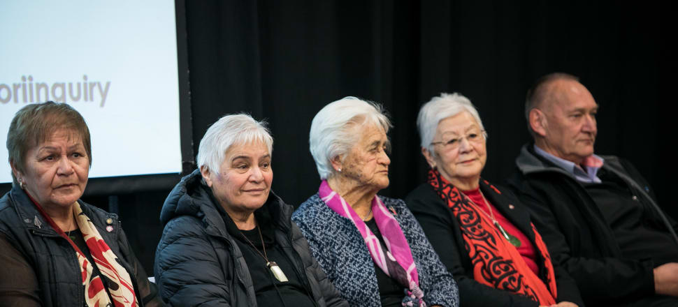 Dame Naida Glavish, Dame Tariana Turia, Dame  Iritana Tāwhiwhirangi and Dame Areta Koopu with Sir Mark Solomon at a hui on OT. Photo: Supplied