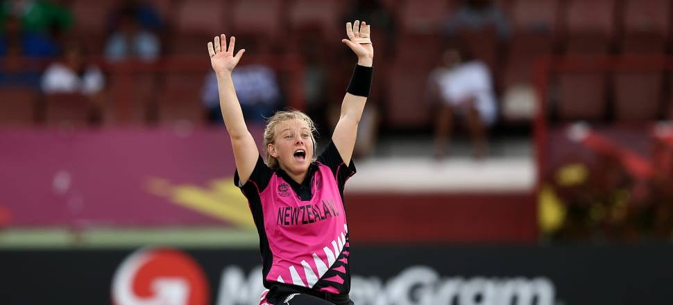 White Ferns player Leigh Kasperek appeals for a wicket in the 2018 T20 World Cup in Guyana. Photo: Getty Images.