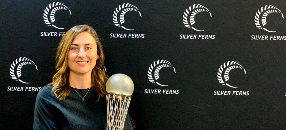 Jennie Wyllie, Netball NZ's CEO, with the holy grail of netball, the World Cup. Photo: Troy Han.