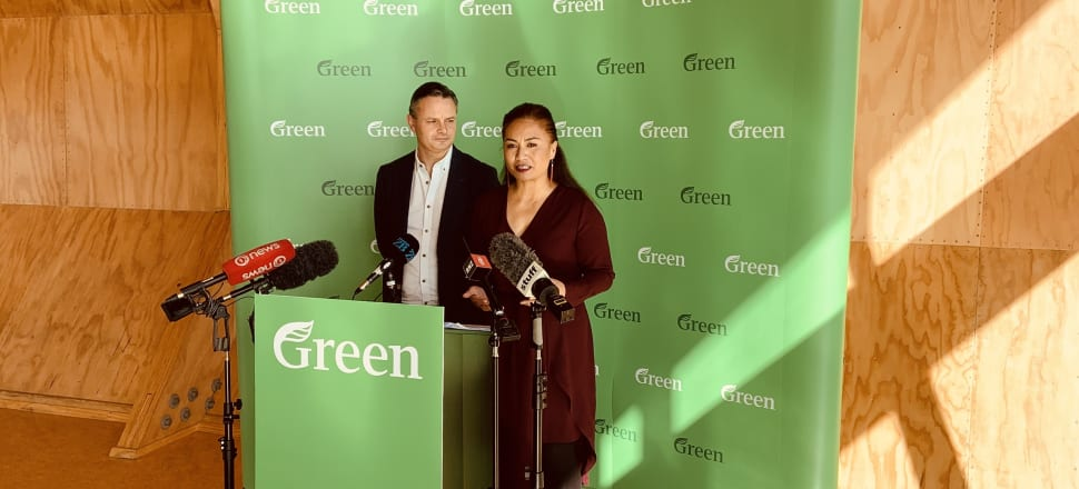 Greens co-leaders James Shaw and Marama Davidson at the policy launch at Te Oro centre in Glen Innes, Auckland. Photo: Tim Murphy