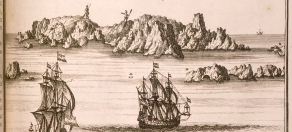 An engraving by Frederik Ottens of the Isaac Gilsemans painting of first contact at the Three Kings islands. Image: National Library