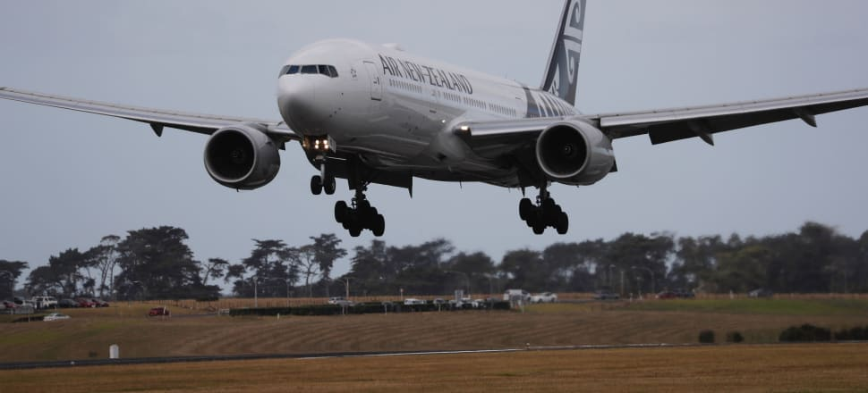 Air New Zealand flight NZ 1942 touches down at Auckland International Airport on February 5 after departing from Wuhan, China. The passengers were then taken for 14 days quarantine in camper vans at a Whangaparaoa military base. Photo: Getty.