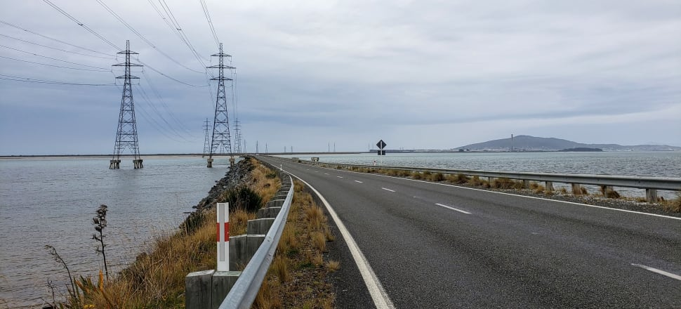 Massive power lines connect Tiwai Point to Manapouri power station, 150 kilometers away. Photo: Marc Daalder