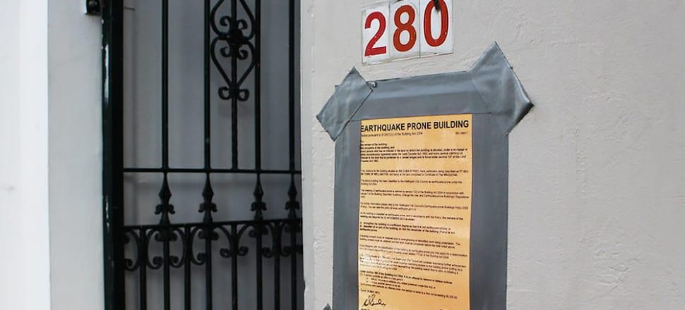 The dreaded yellow sticker on Wellington's earthquake prone buildings. Photo: Lynne Grieveson
