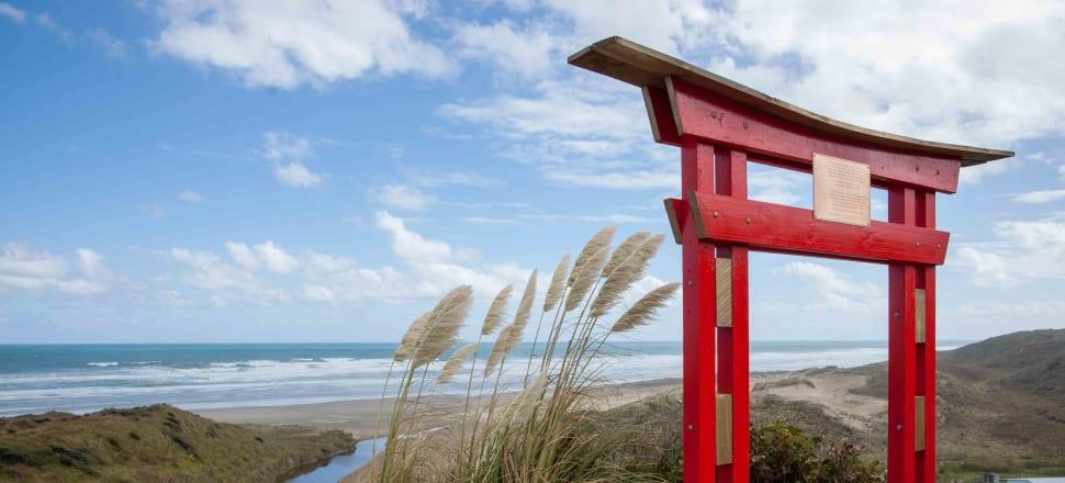 The red memorial gate, Mitimiti beach, Hokianga. Photo: King Tong Ho