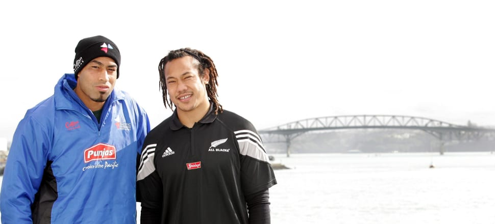 Inoke Afeaki when he captained the Pacific Islanders in 2004, with All Blacks captain Tana Umaga. Photo: Getty Images