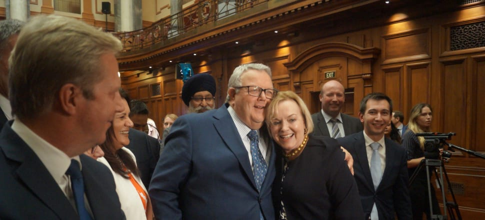 Judith Collins and Gerry Brownlee embrace after being elected as National's leader and deputy leader respectively. Photo: Sam Sachdeva.