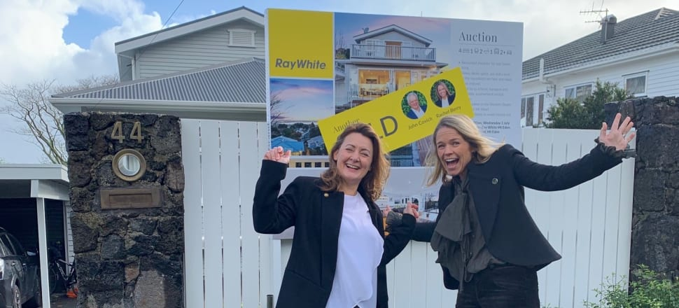 Victoria Butterworth (left) and Ray White's Rachel Berry celebrate a post-Covid sale 50 percent above CV. Photo: Nikki Mandow