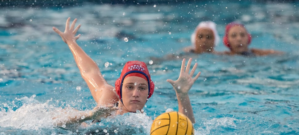 New Zealand water polo centre forward Emily Nicholson hopes to get back to play for her US college team, the Fresno State Bulldogs, this year and keep studying criminology. Photo: Fresno State Athletics.