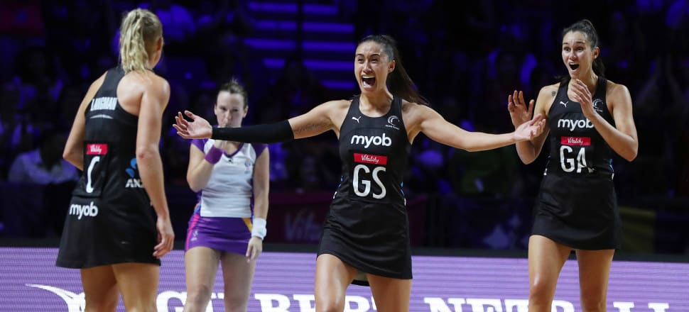 Incredulous: Maria Folau throws out her arms in celebration right on the final whistle of the Silver Ferns' 52-51 World Cup final victory over Australia's Diamonds, on July 22, 2019. Photo: Michael Bradley