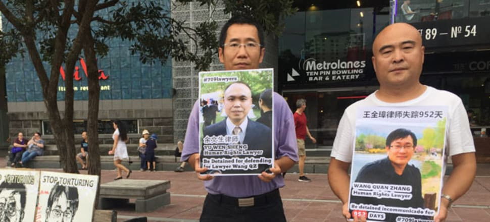 Pro-democracy protestors Freeman Yu (left) and Xi Weigo (right) were heading to Parliament to deliver a petition, when they were involved in a car crash. Xi and fellow activist Wang Lecheng died at the scene. Yu is in Waikato Hospital. Photo: Eagle Vision Times