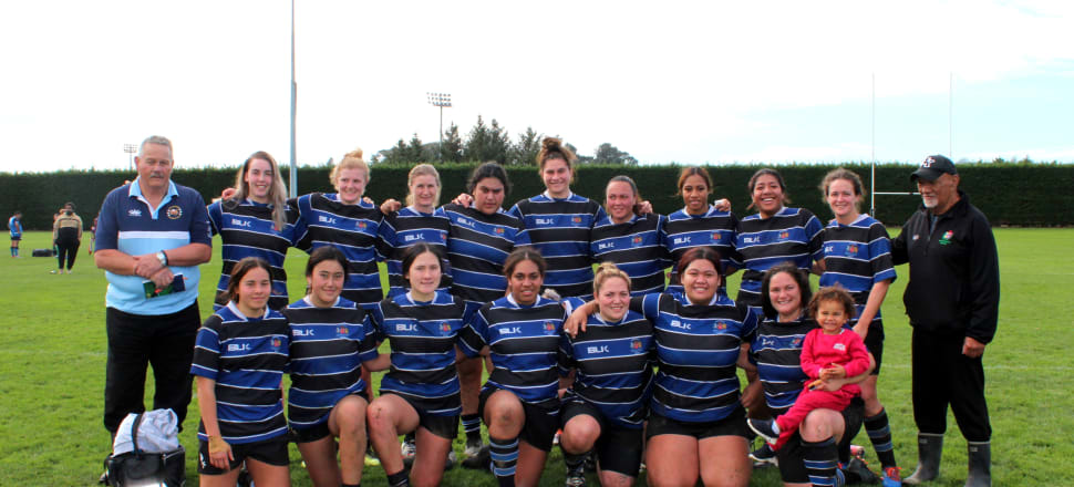 The rookie Whanganui Metro women's rugby side are an eclectic mix of ages and experience, propped up by former Black Fern Sosoli Talawadua (front row, far right with daughter Marisela-Grace) Photo: supplied.