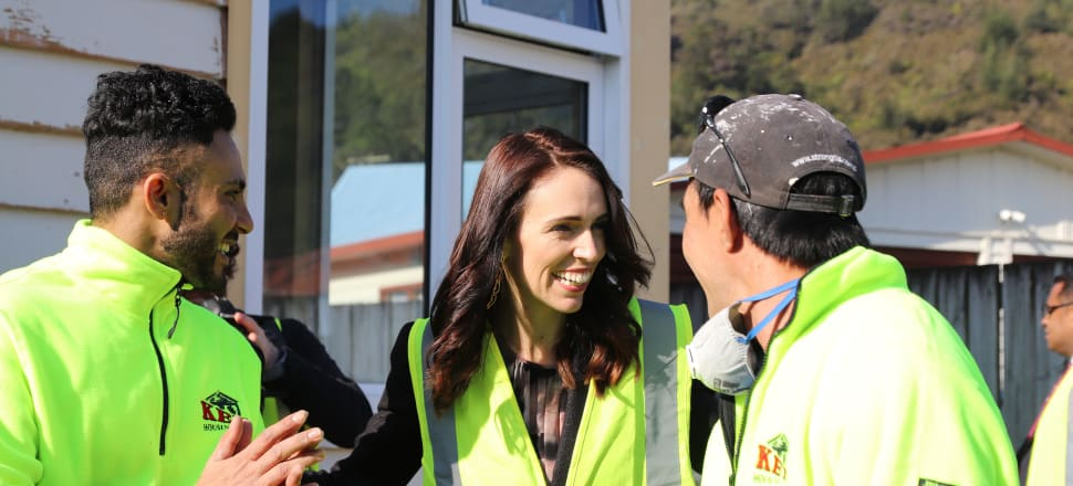 Jacinda Ardern took to the Hutt on Thursday to make infrastructure announcements and highlight the Government's performance on housing and Covid-19. Photo: Lynn Grieveson