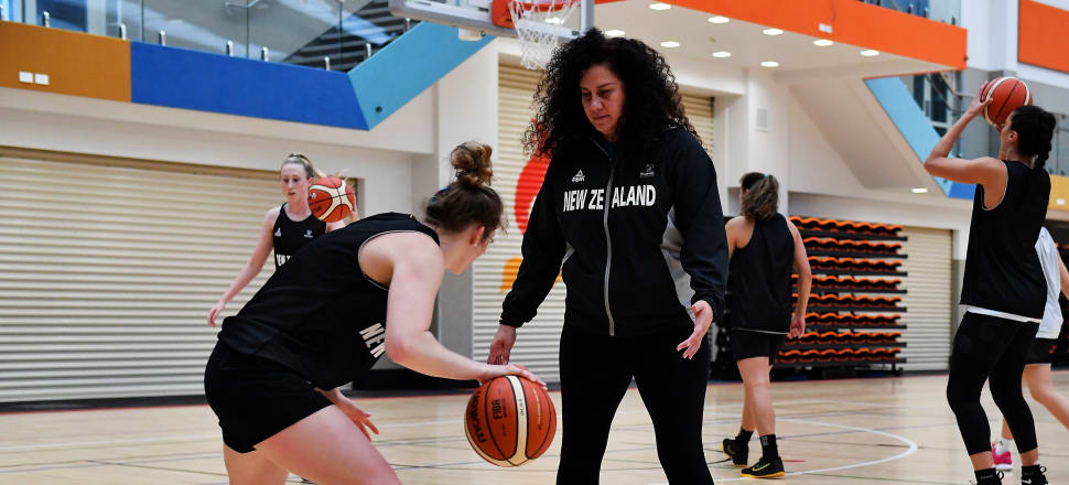 Coach Jody Cameron (centre) has been looking after the Tall Ferns squad before this weekend's showcase game featuring New Zealand's best basketball talent. Photo: Basketball NZ.