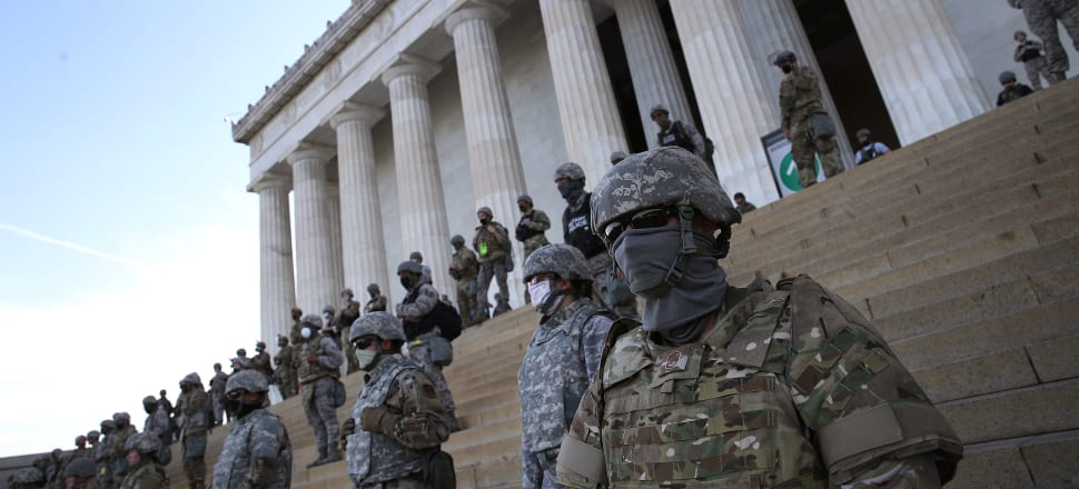 Members of the D.C. National Guard at the Lincoln Memorial in Washington D.C., where protests and riots have been raging since George Floyd's murder - once again highlighting white supremacy in the US. Photo: Getty Images