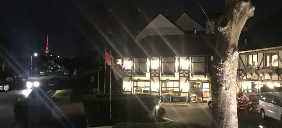 Thar she glows: the Surrey Hotel, in Grey Lynn, Auckland. Photo by 2018 residency winner Naomi Arnold.