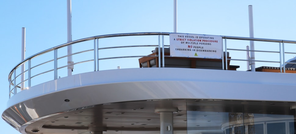 "Sign re ""multiple people"" isolating on board Super Yacht at Silo marina, Wynyard Quarter, Auckland during Covid-19. Photo: Lynn Grieveson"